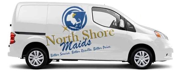 North Shore Maids service van in Massachusetts